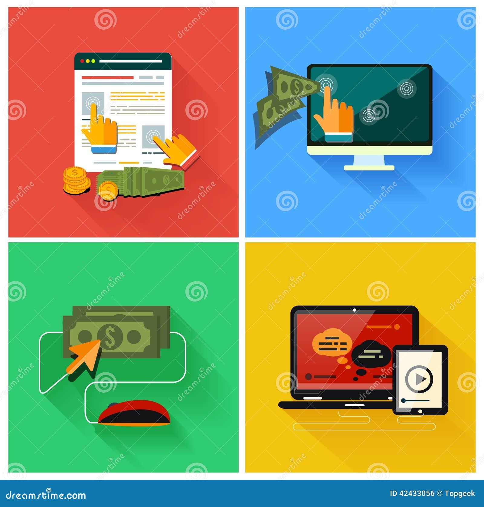 Paga por modelo de la publicidad de Internet del tecleo