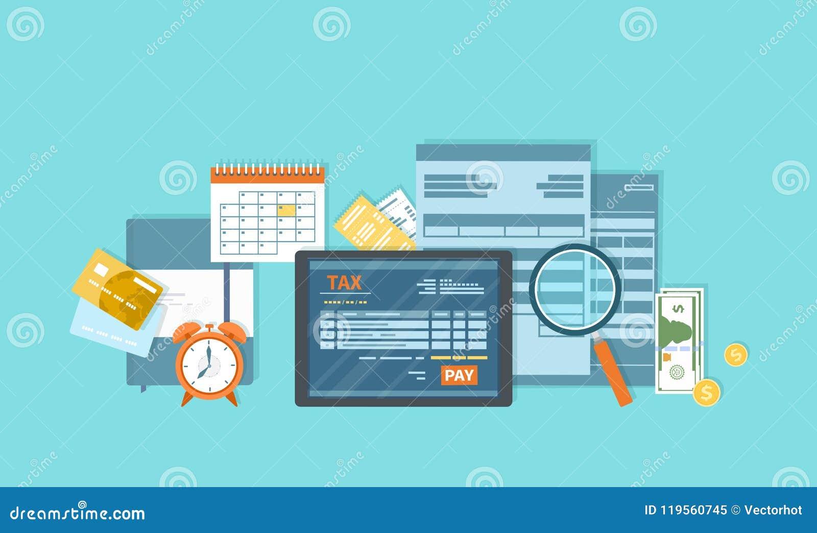 Pagamento de imposto Serviço móvel do pagamento Impostos estaduais do governo Formulário de imposto, calendário financeiro, dinhe
