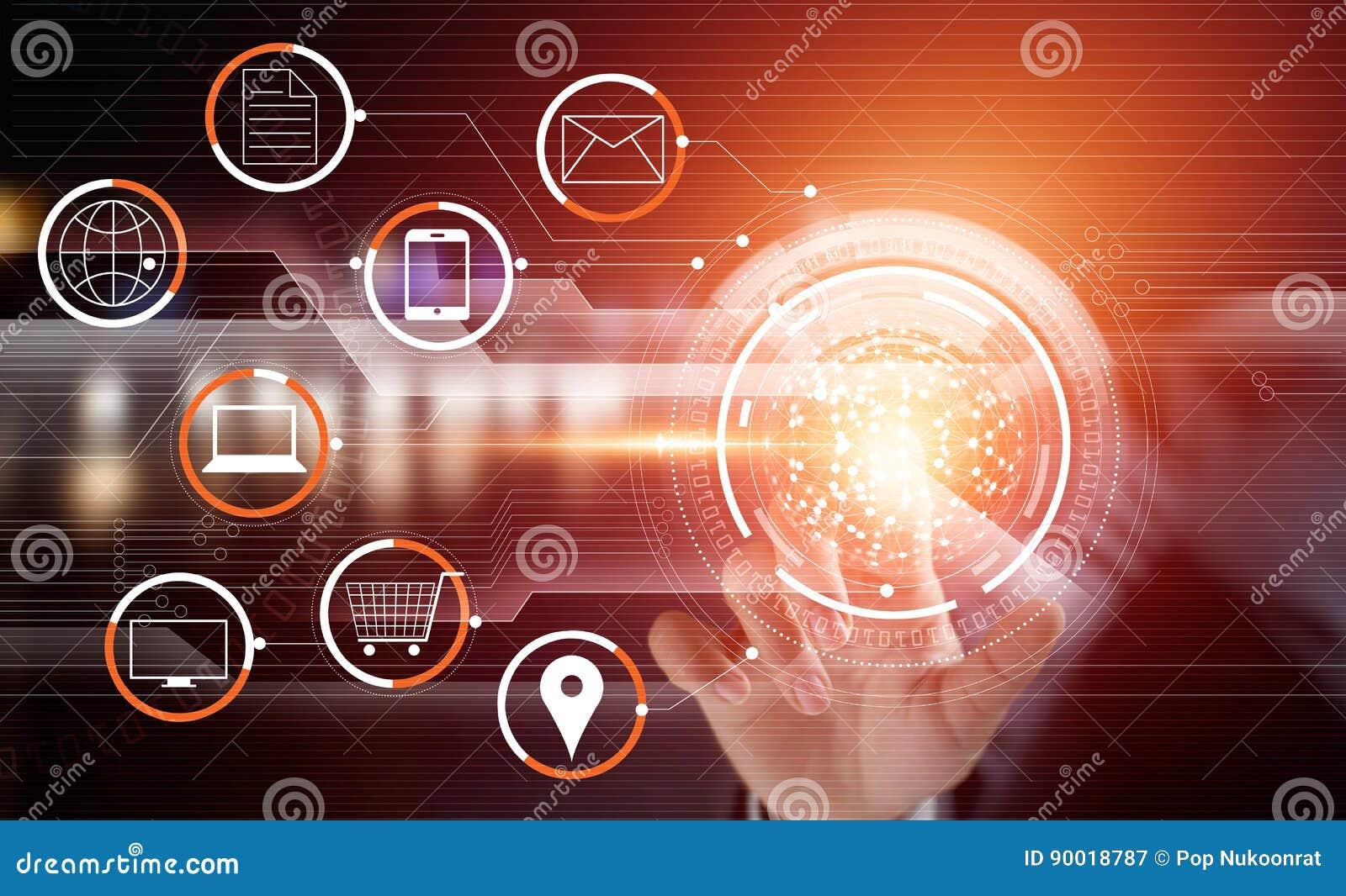 Pagamento em linha tocante da rede global do círculo do homem de negócios