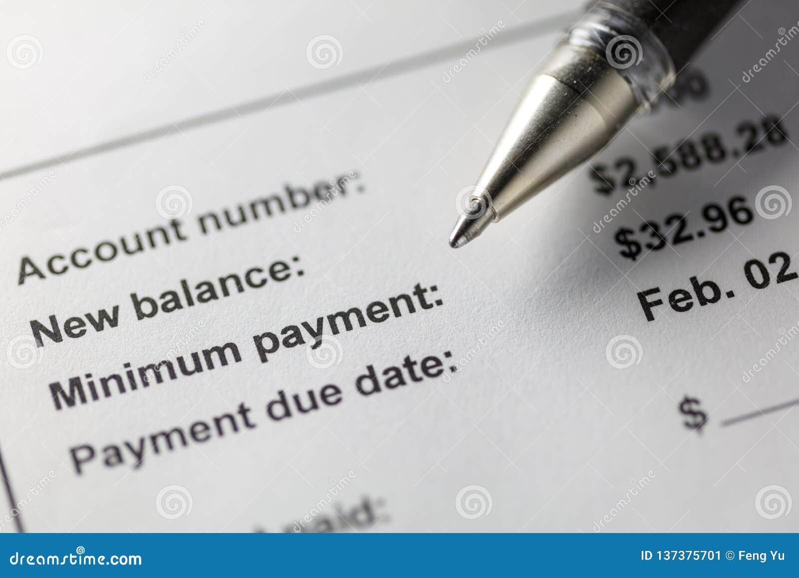 Pagamento mínimo de cartão de crédito