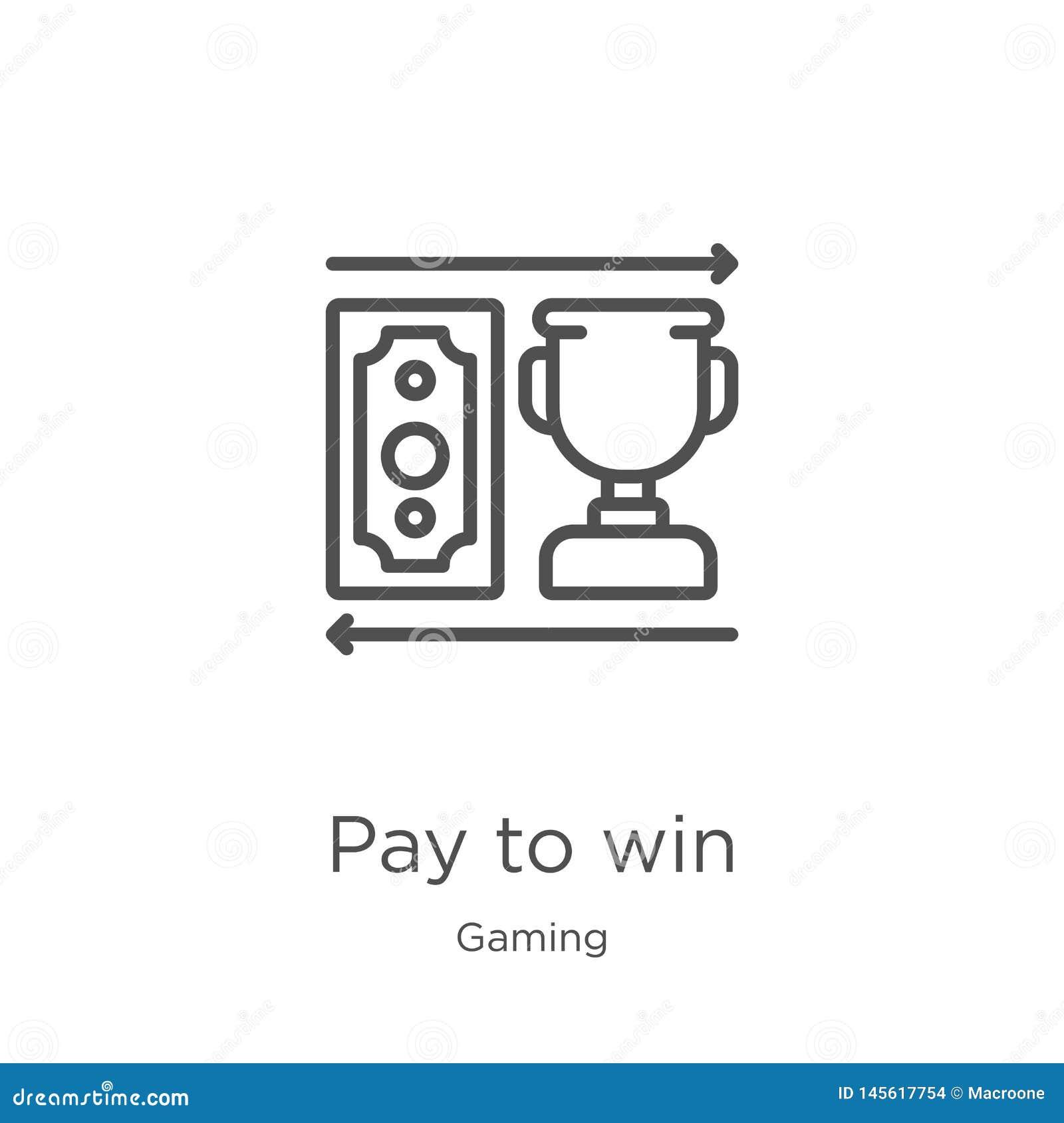 Pagamento para ganhar o vetor do ícone da coleção do jogo Linha fina pagamento para ganhar a ilustração do vetor do ícone do esbo