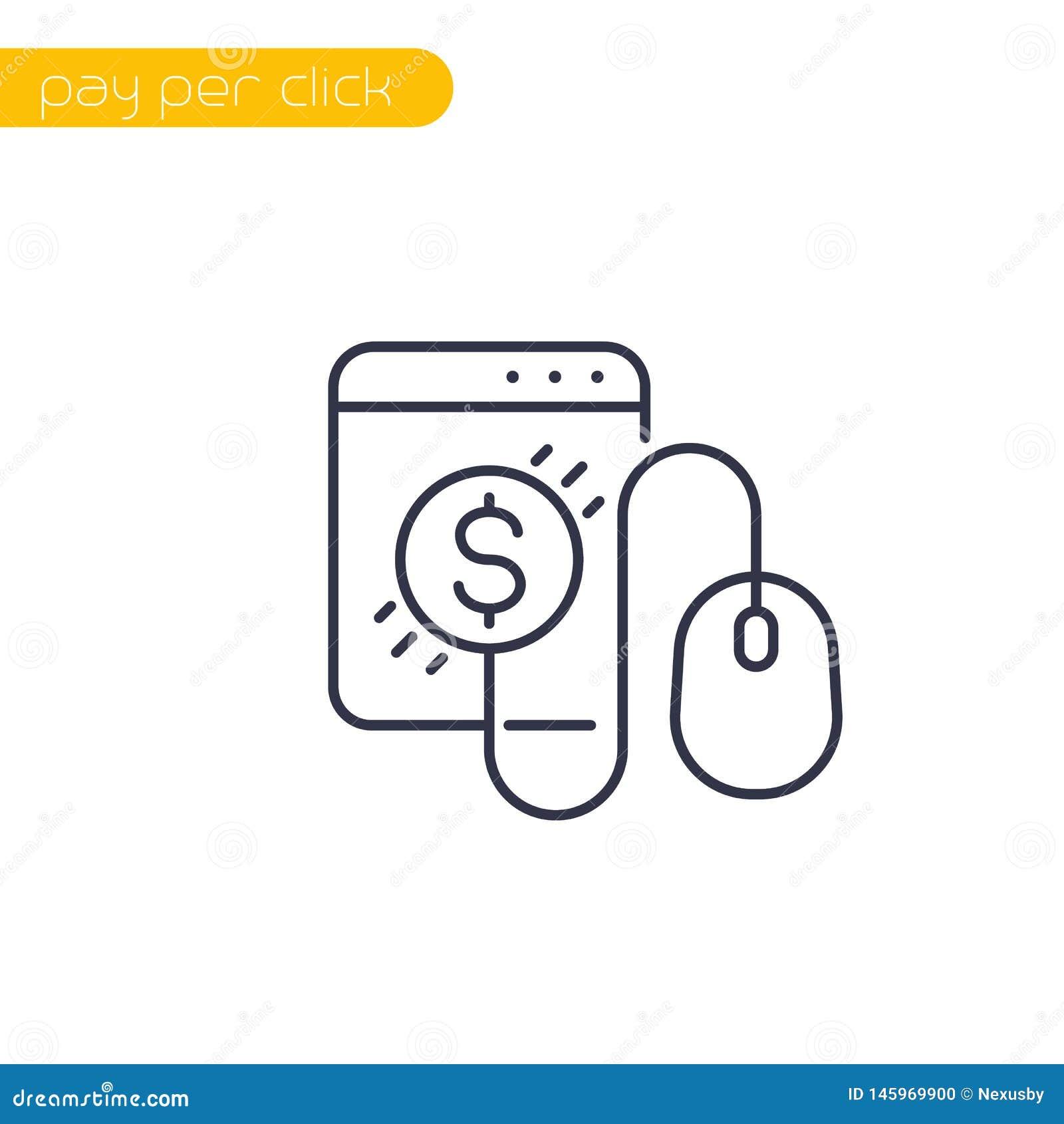 Pagamento pelo ícone do clique com rato e moeda, linha