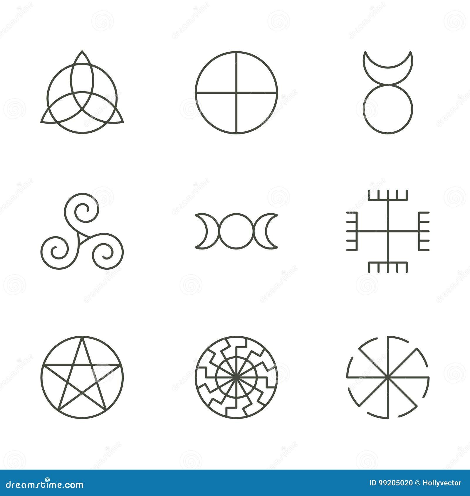 Pagan Ancient Symbols Mystery Sacred Icons Illustration Stock