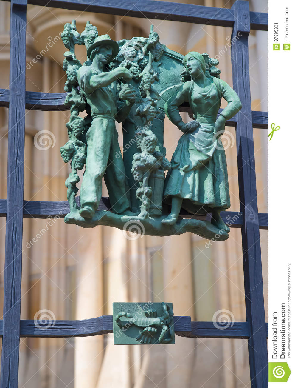 Pagan symbols of the zodiac on the Golden Gate St. Vitus Cathedral in Prague
