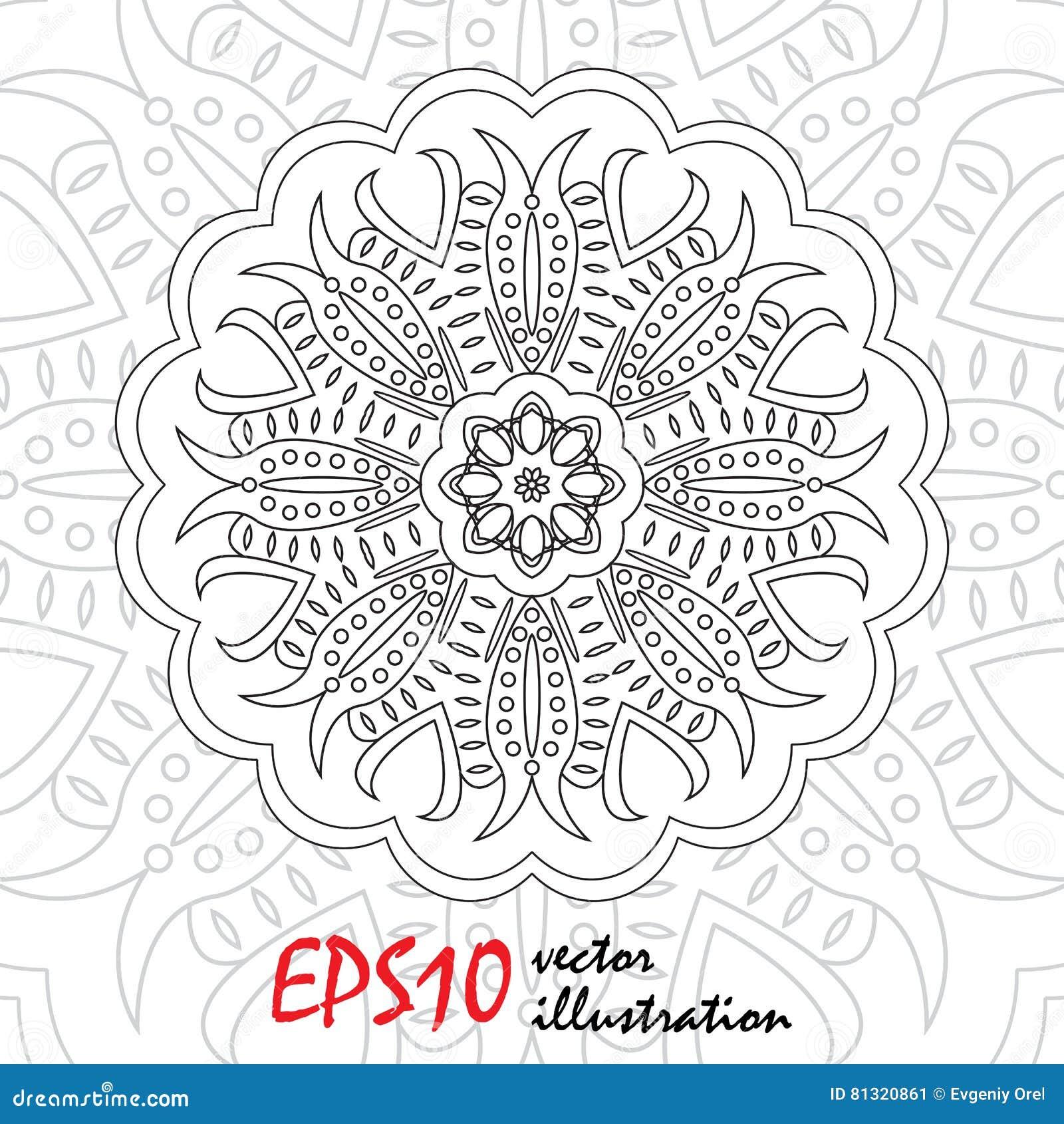 Page Abstraite De Mod¨le De Vecteur Pour Livre De Coloriage Antistress Mandala Flocon De Neige
