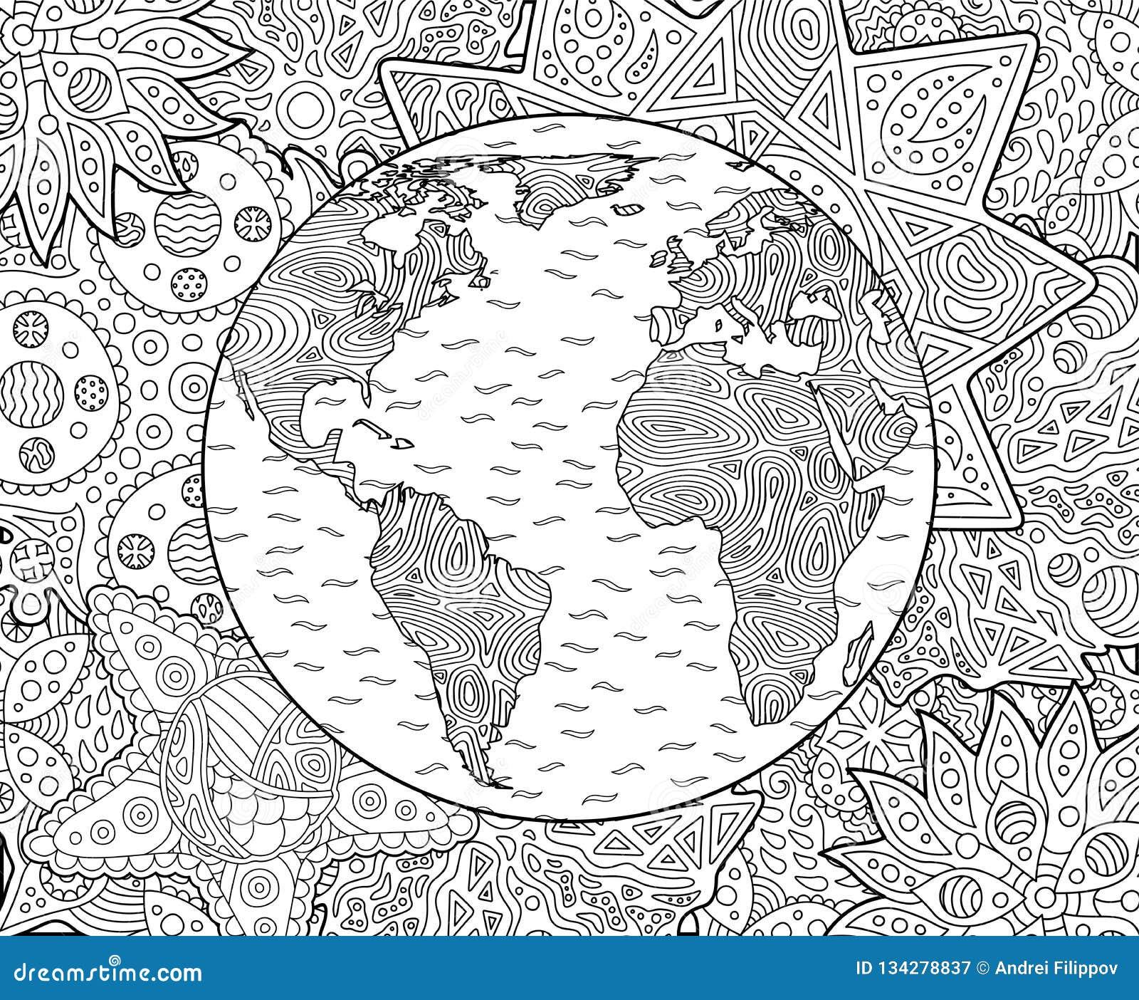Page Adulte De Livre De Coloriage Avec La Terre De Planète