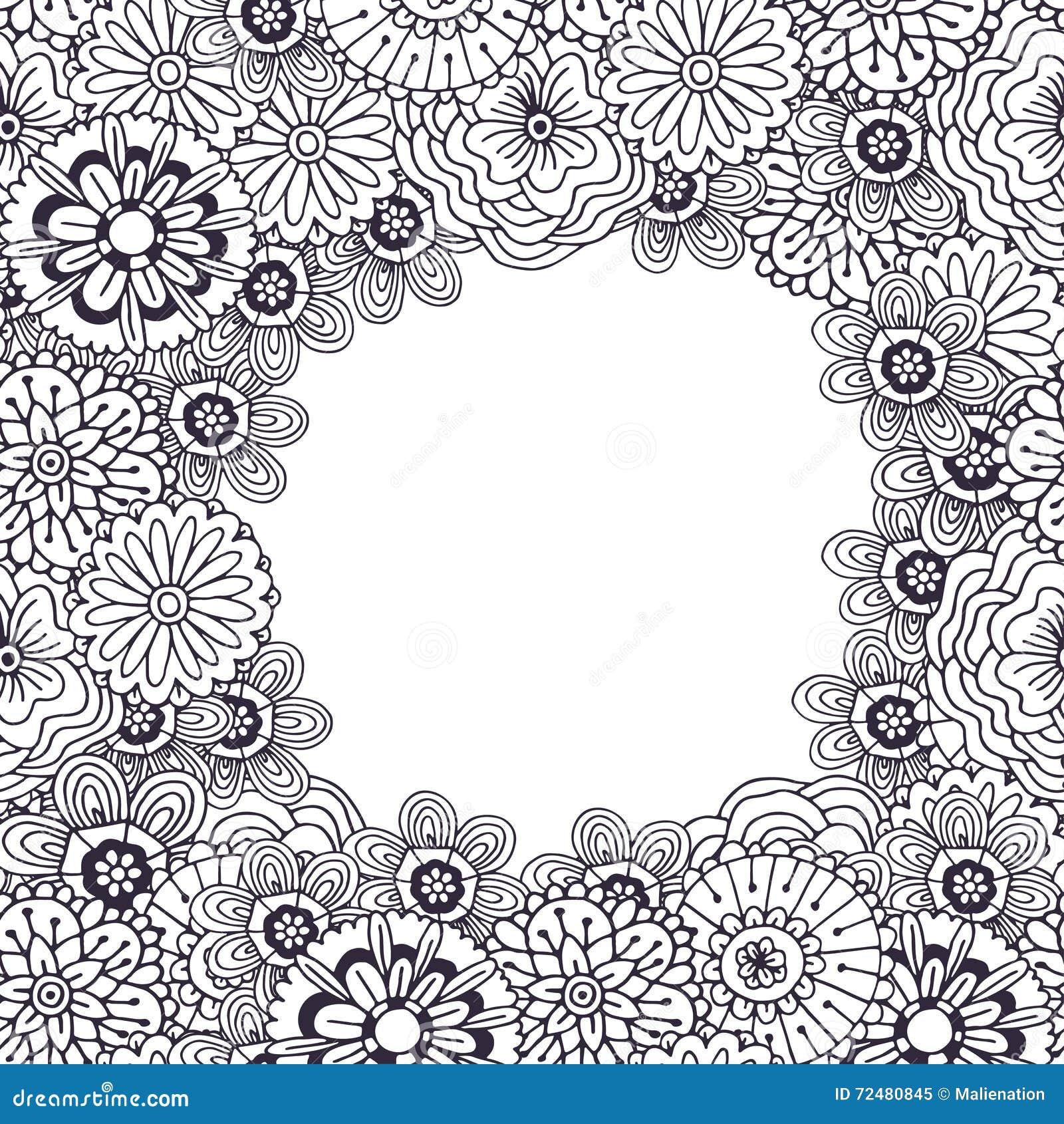 Coloriage Cadre Fleur.Page Adulte De Livre De Coloriage Cadre De Vecteur Avec Le Modele De
