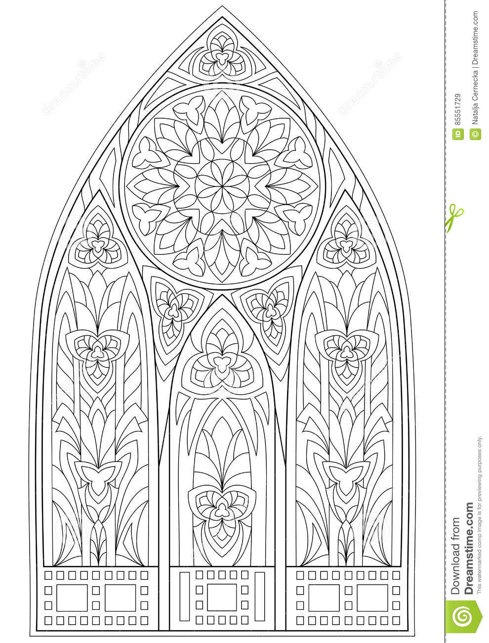 page with black and white drawing of beautiful medieval gothic window stock vector. Black Bedroom Furniture Sets. Home Design Ideas