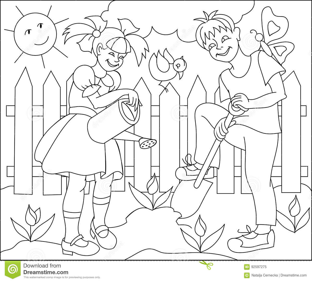 page with black and white drawing for coloring illustration of children working in the spring garden - Spring Garden Coloring Pages