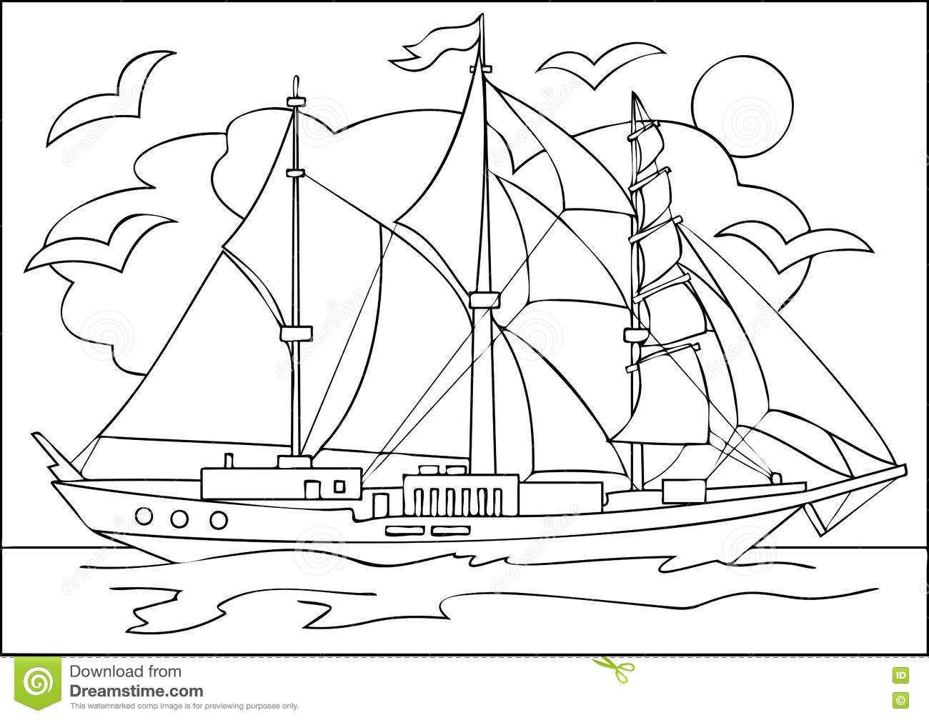 page with black and white drawing of sailing ship for