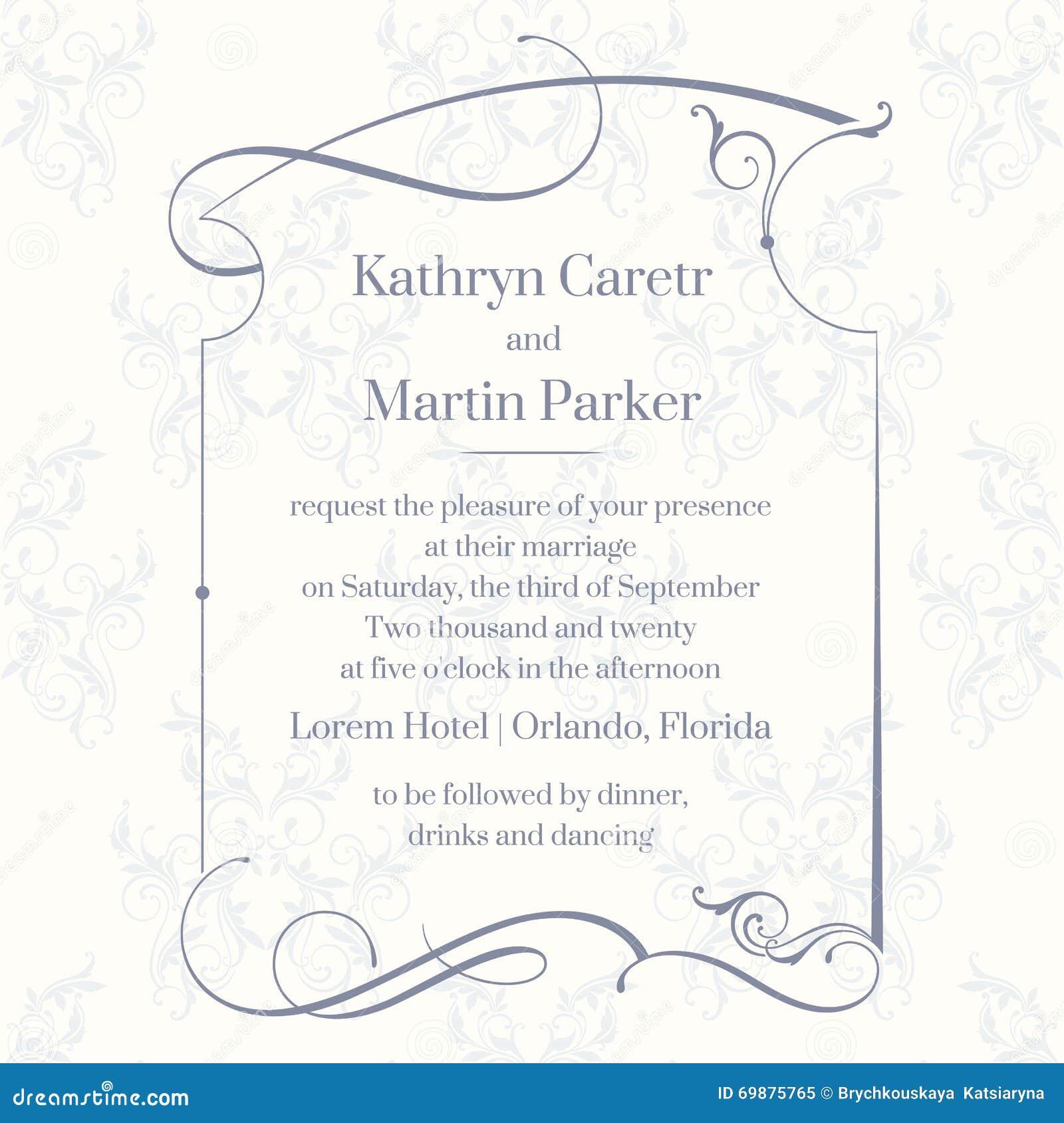 Page classique de conception Cartes de calibre Invitation de mariage
