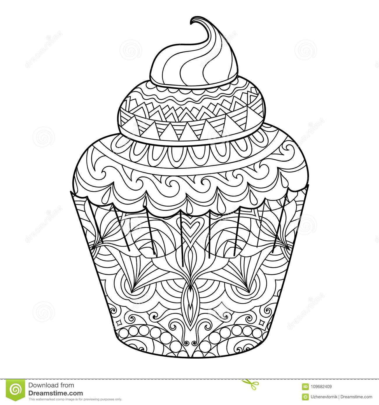 - Cupcake For Coloring Book For Adults Stock Vector - Illustration