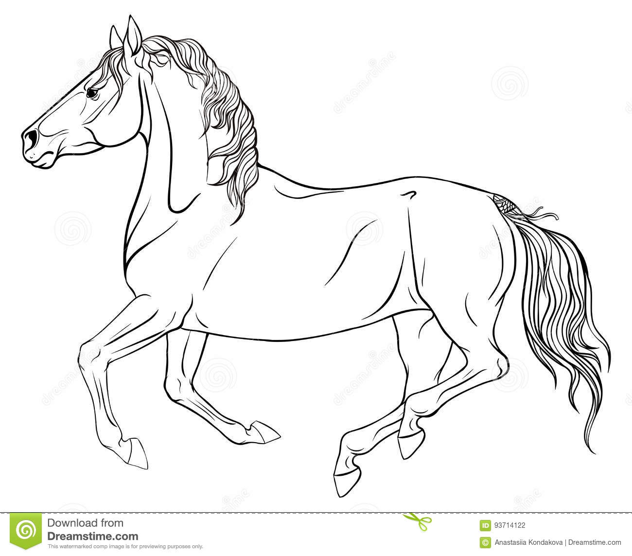 Page Coloring With Equestrian Sport Stock Vector Illustration Of Motion Grace 93714122