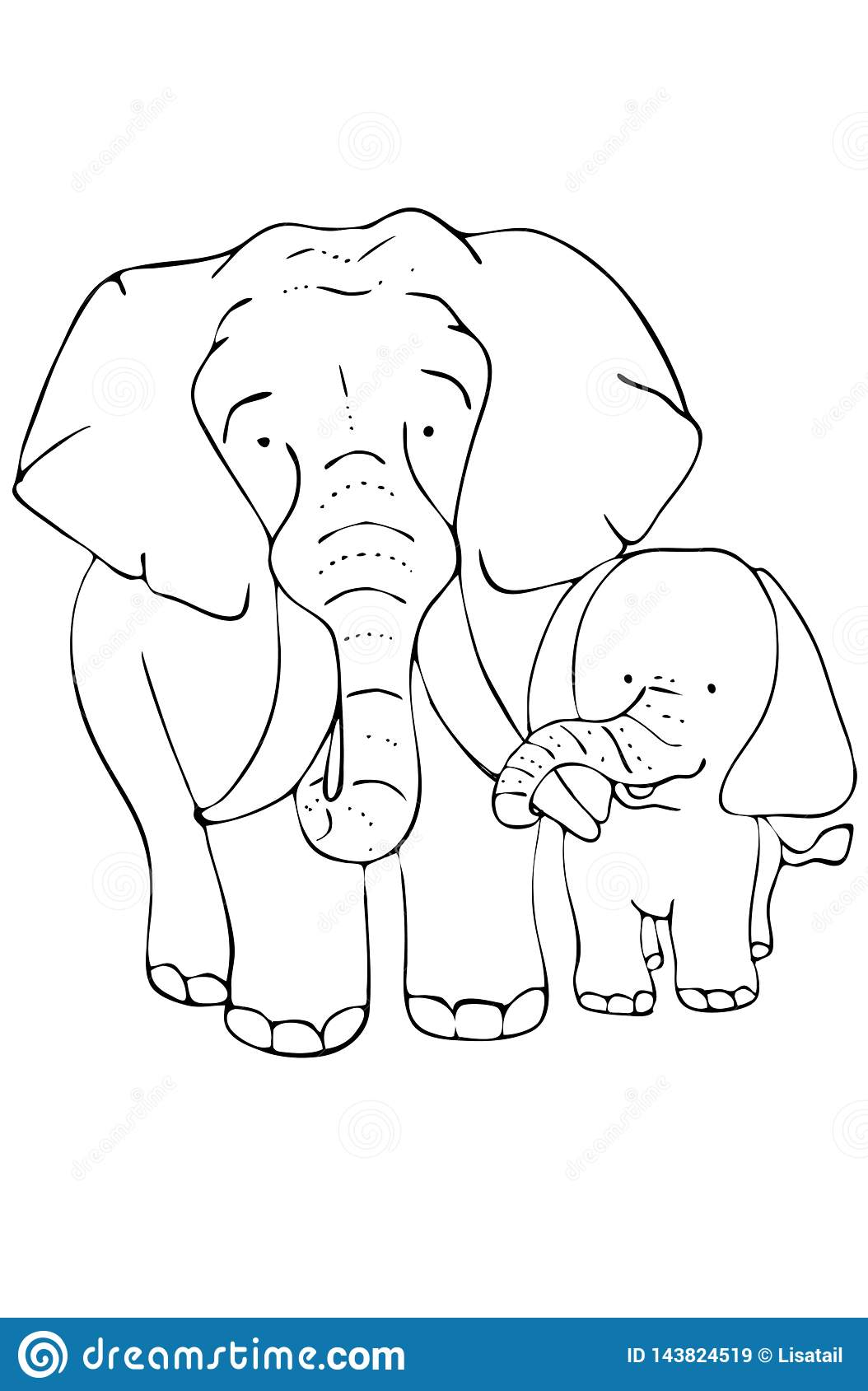 Page For Coloring Mother Elephant And Baby Elephant Stock Illustration Illustration Of Page Pachyderm 143824519