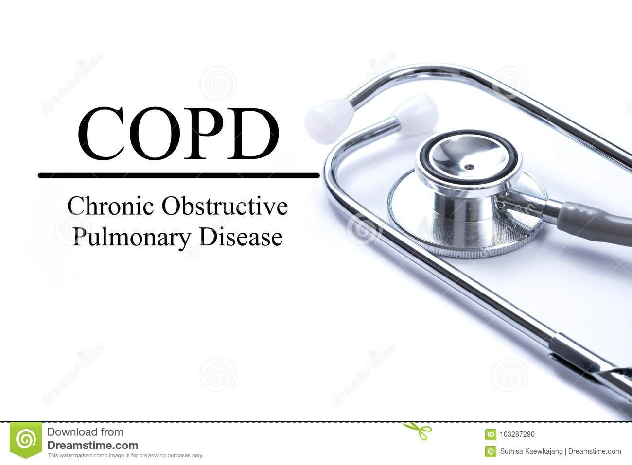 Page with COPD Chronic obstructive pulmonary disease on the ta
