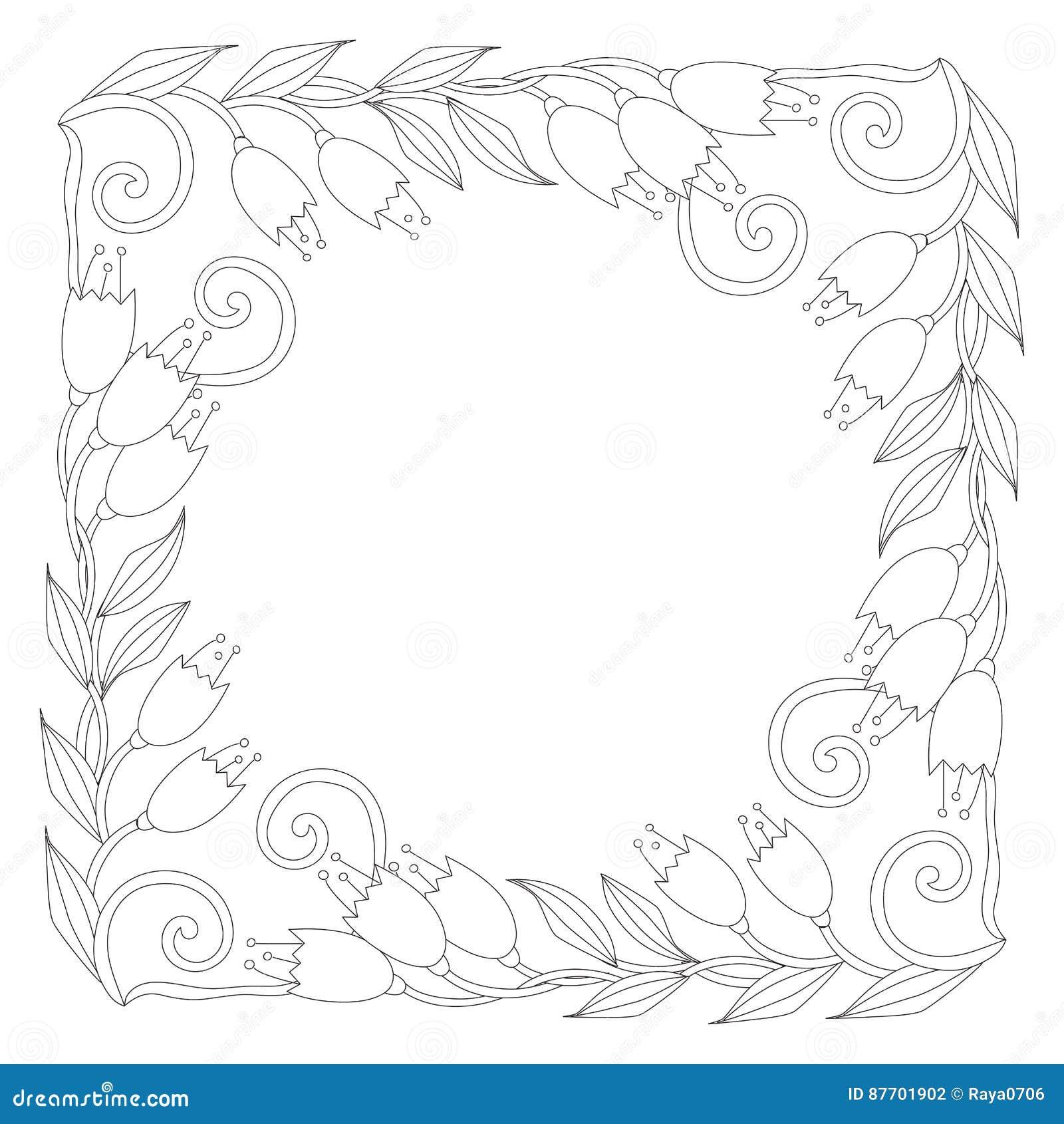 Page de coloration avec des fleurs de vintage Rebecca 36 Ornement de Handrawn