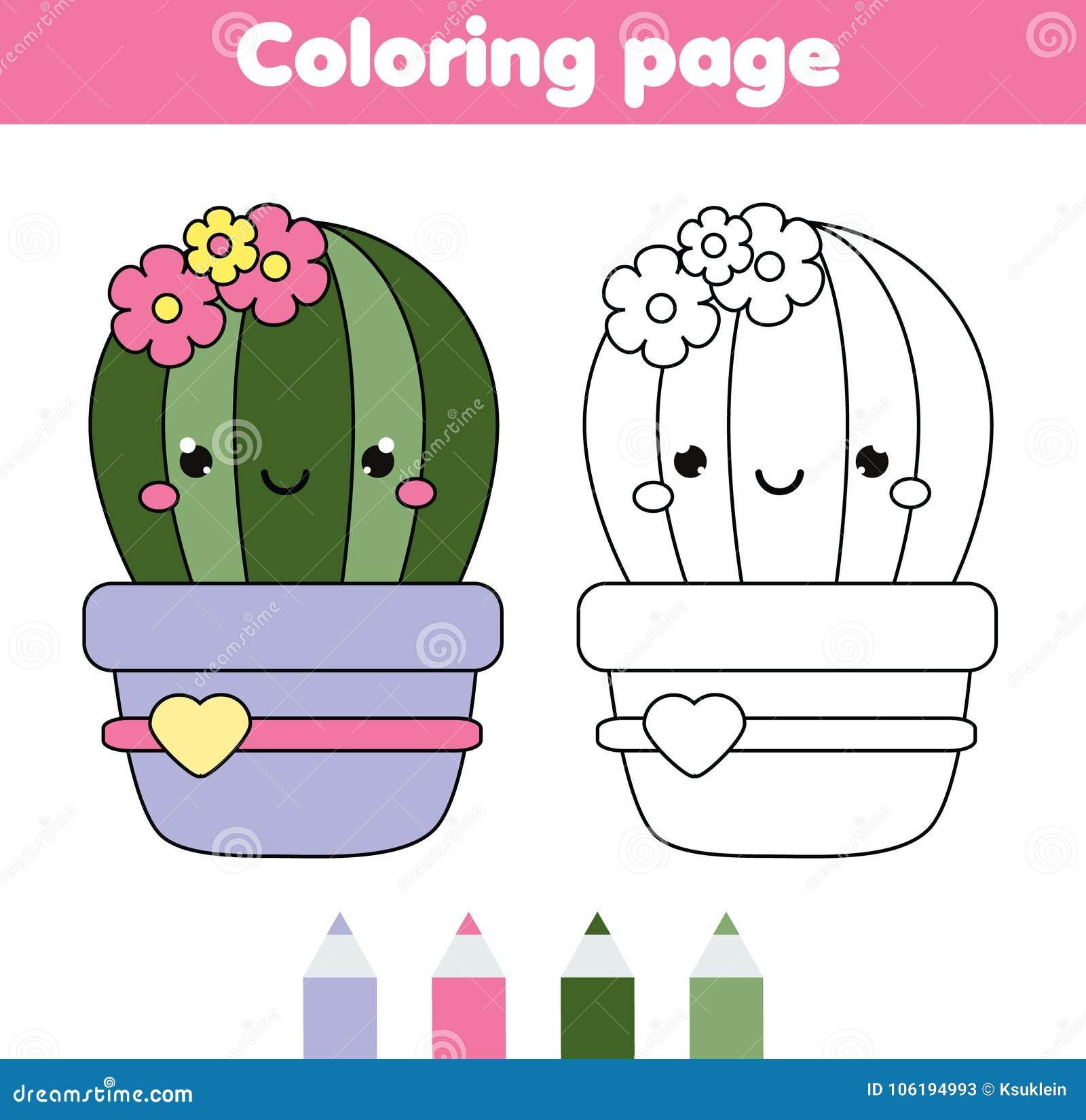 Page de coloration avec le cactus mignon Le dessin badine le jeu Activité imprimable