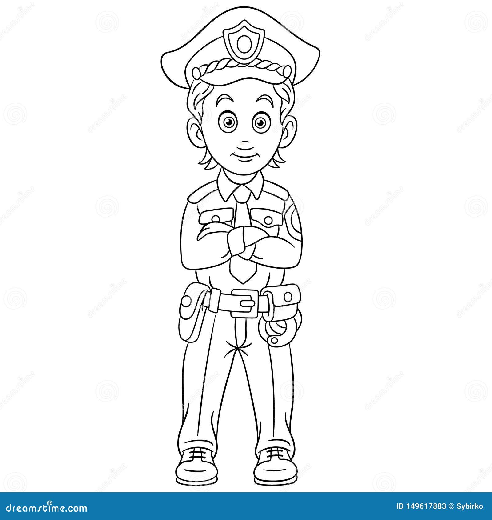 Page De Coloration Avec Le Dirigeant D Homme De Police De Policier Illustration De Vecteur Illustration Du Page Avec 149617883