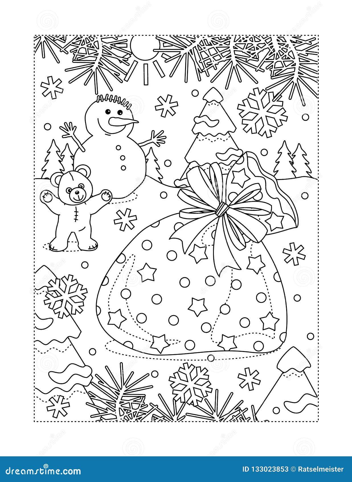 Page de coloration avec le sac de Santa complètement de présents