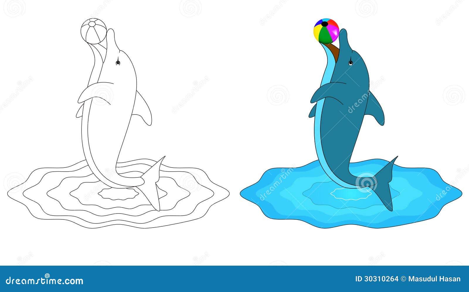Livre de coloriage d pour le dauphin illustration de - Dauphin dessin couleur ...