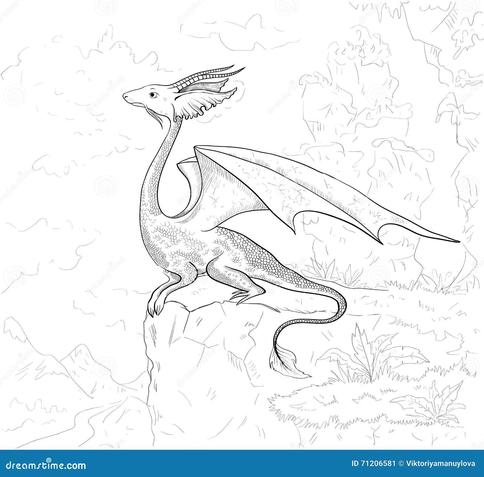 Page de coloration de dragon Découpe de dragon pour livre de coloriage