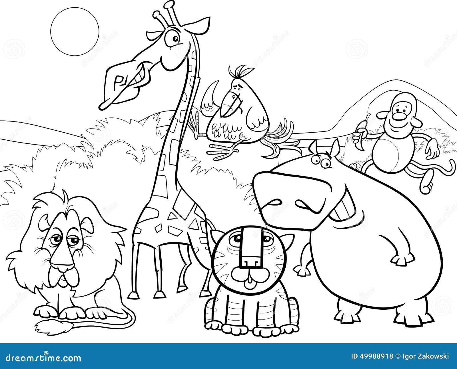 Page De Coloration De Groupe D Animaux Sauvages