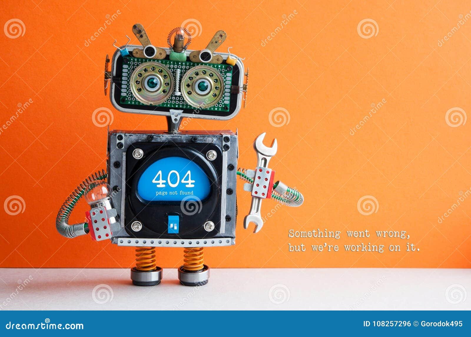Page de 404 erreurs non trouvée Pinces de clé de main de robot de soldat sur le fond orange Le message textuel quelque chose est