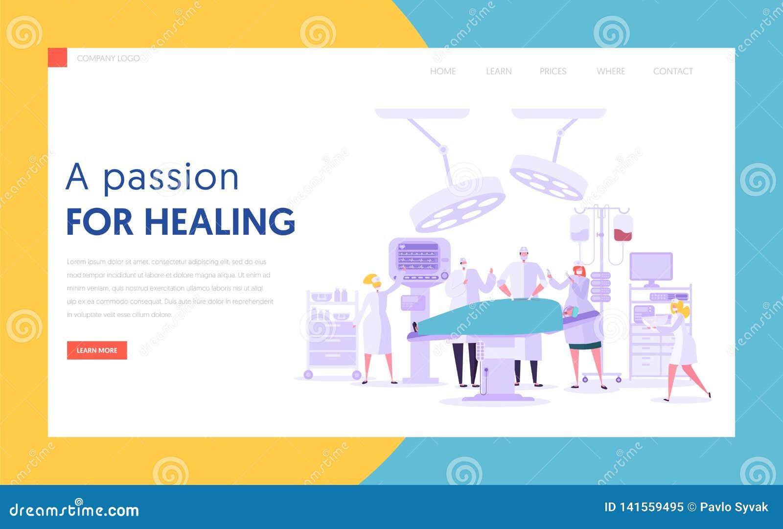 Page de exécution d atterrissage de concept d opération de chirurgie de caractère médical Équipe de personnes dans la salle d opé