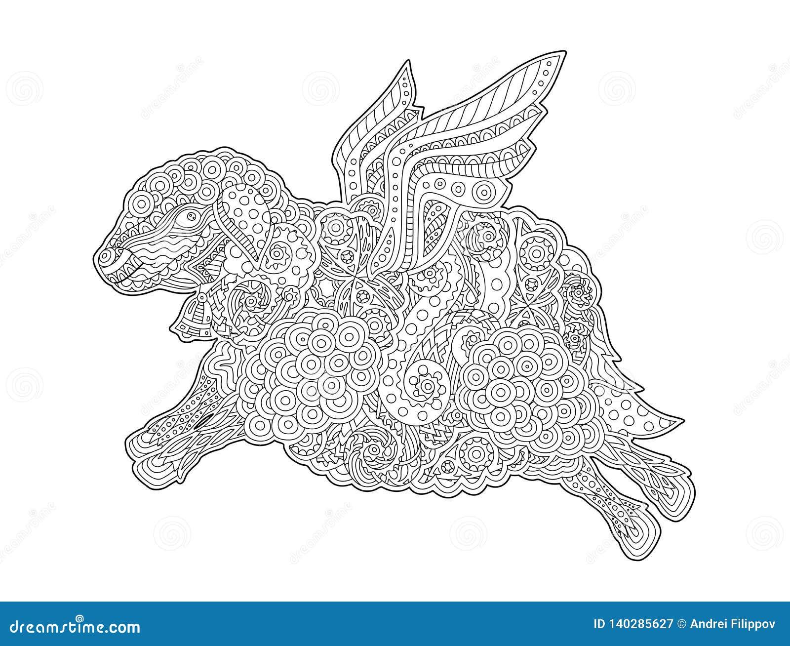 Coloriage Animaux Volants.Page De Livre De Coloriage Avec Les Moutons Volants Droles