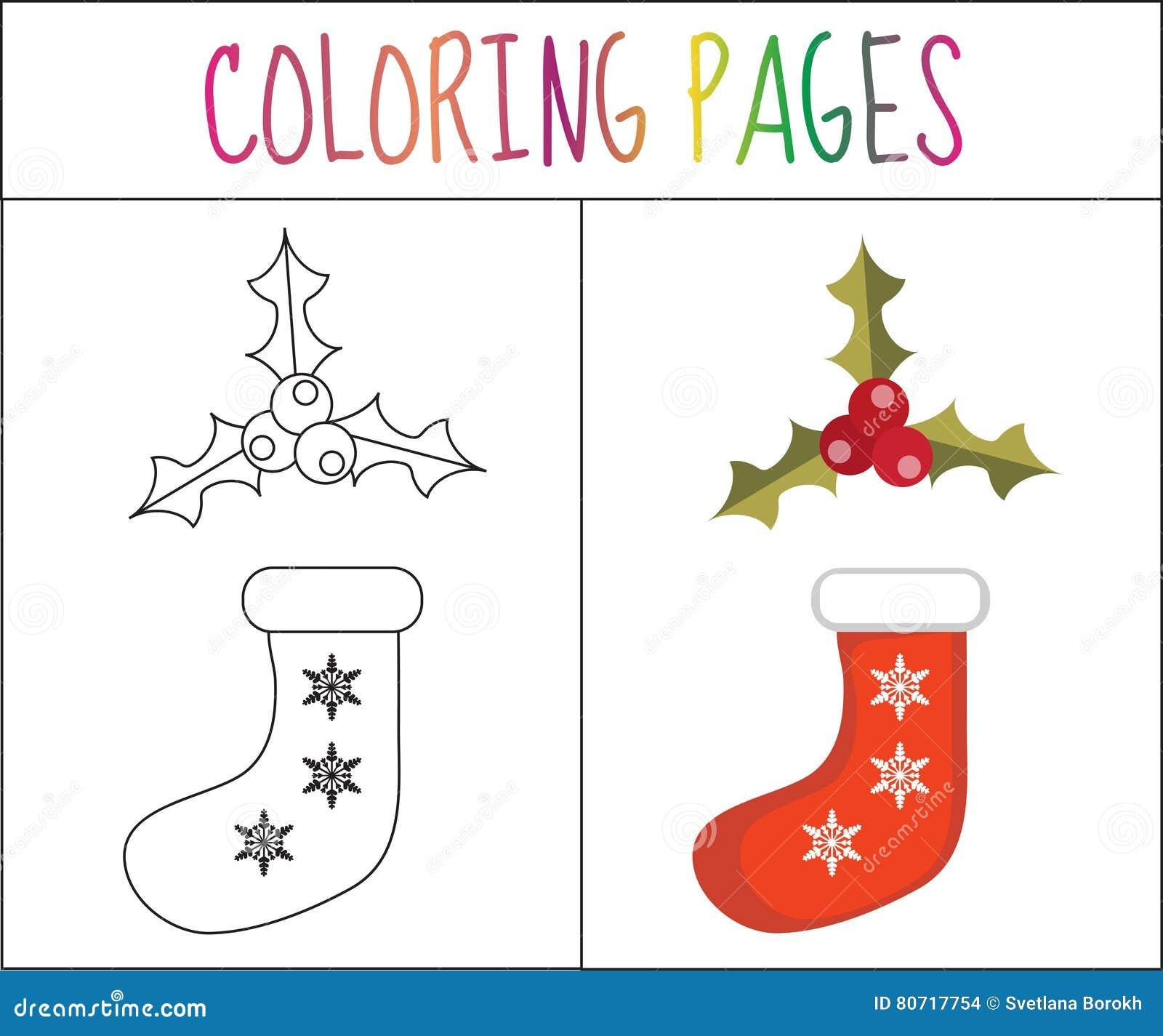 Page De Livre De Coloriage Chaussette Et Houx De Noel Version De