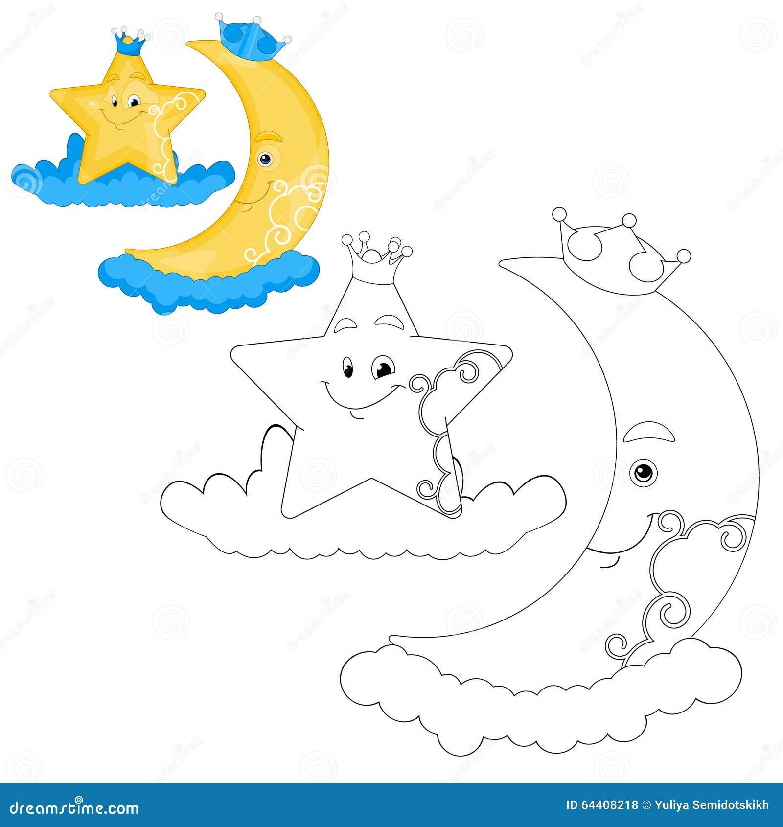 Page de livre de Crescent Moon And Star Coloring