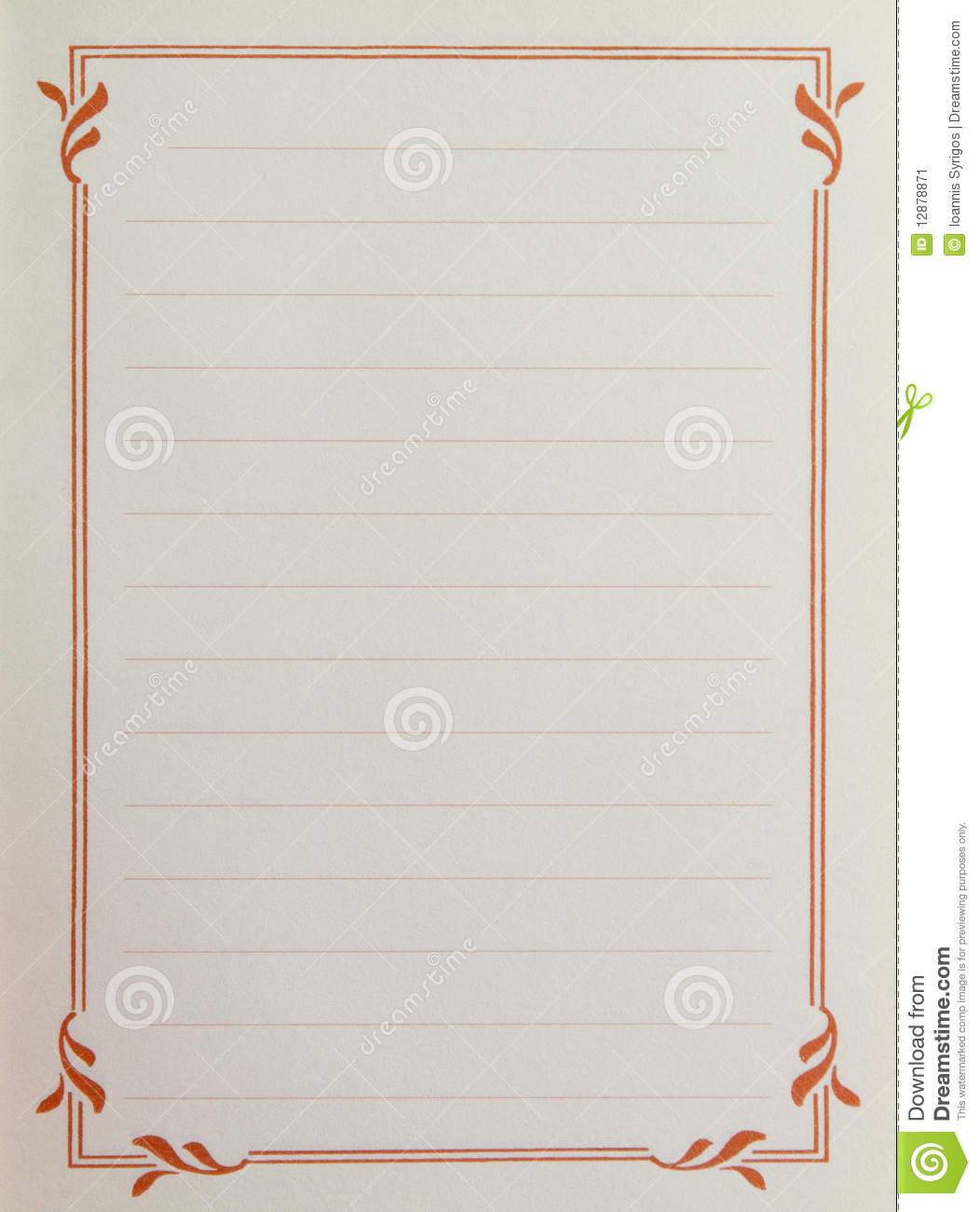 Sheet of lined note paper with a vintage pattern orange border around ...
