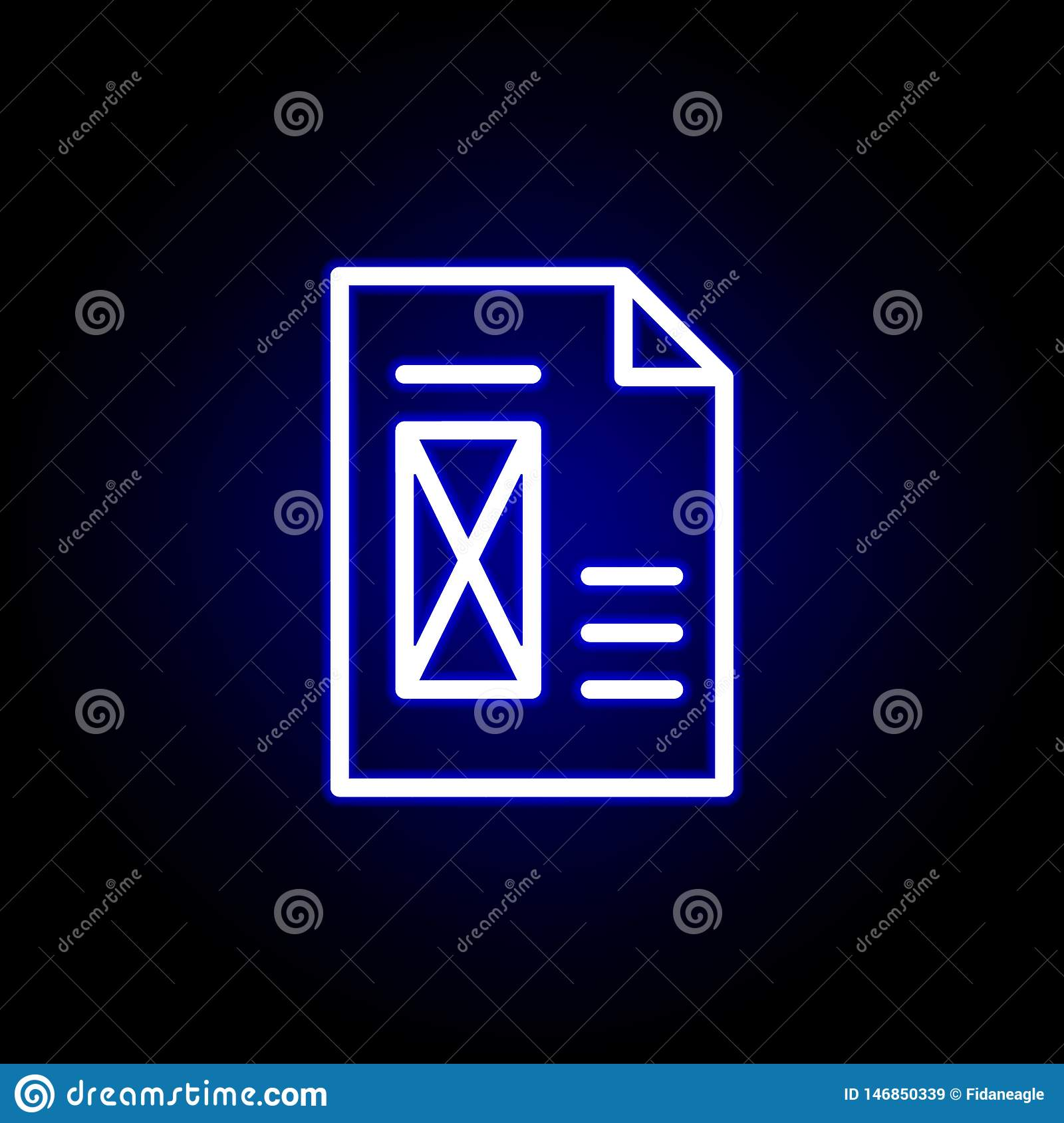 Page, Delete Icon In Neon Style  Can Be Used For Web, Logo, Mobile