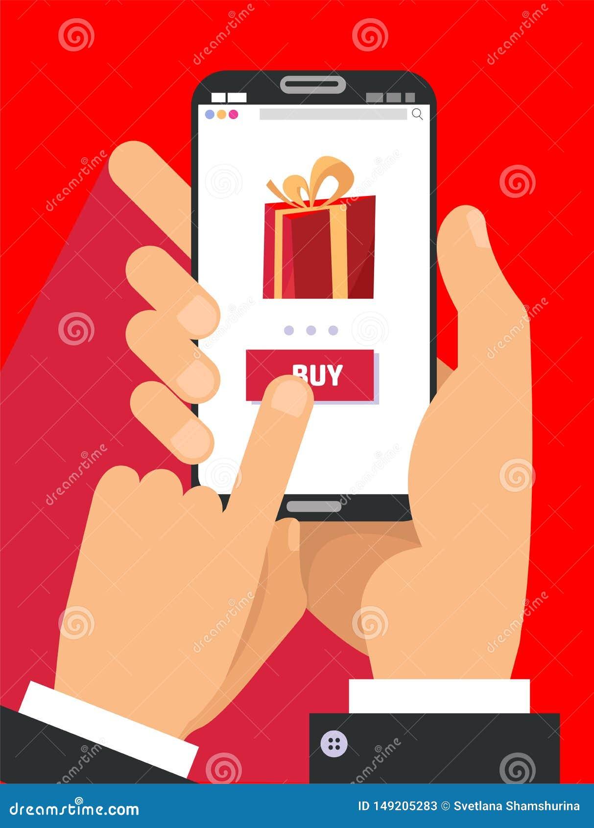 Page du cadeau APP sur l ?cran de smartphone Deux mains masculines tenant le smartphone avec le grand boîte-cadeau sur l écran Co