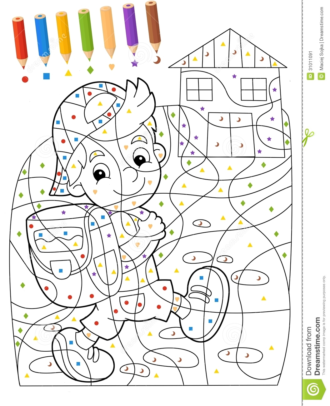 The Page With Exercises For Kids - Coloring Book - Illustration For ...