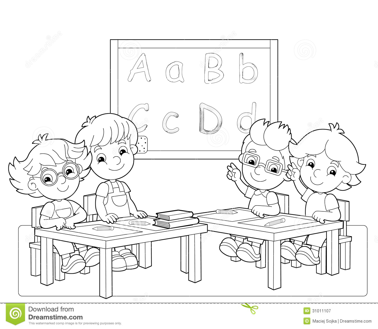 the page with exercises for kids coloring book illustration - Children Coloring Book