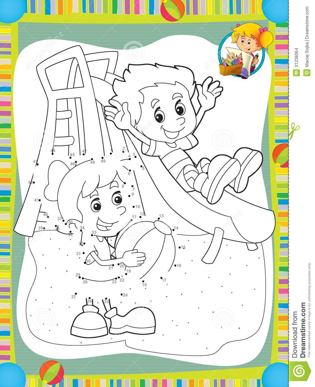 Free coloring pages for exercise - Coloring Illustration Kids Make Page