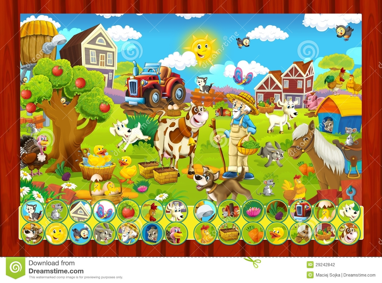 Stock Photography Page Exercises Kids Farm Illustration Children Image29242842 on Farm Preschool