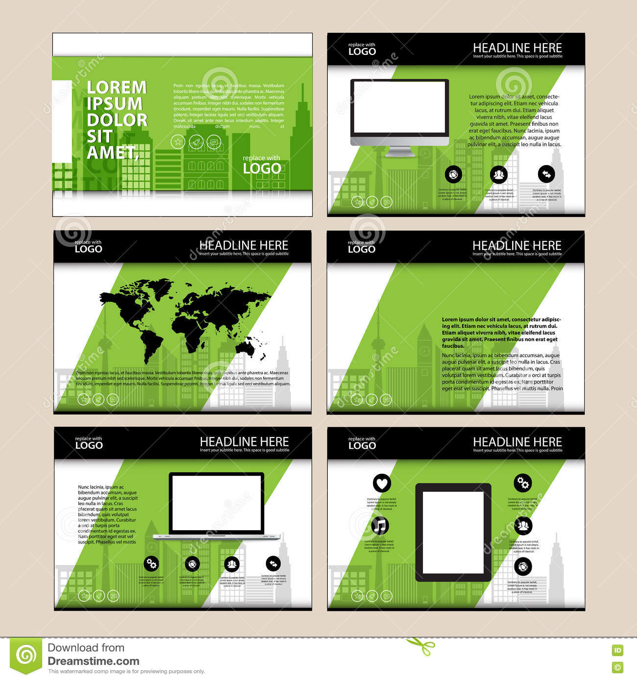 Page Layout Design Template For Presentation And Brochure Annual Report Flyer With Infographic