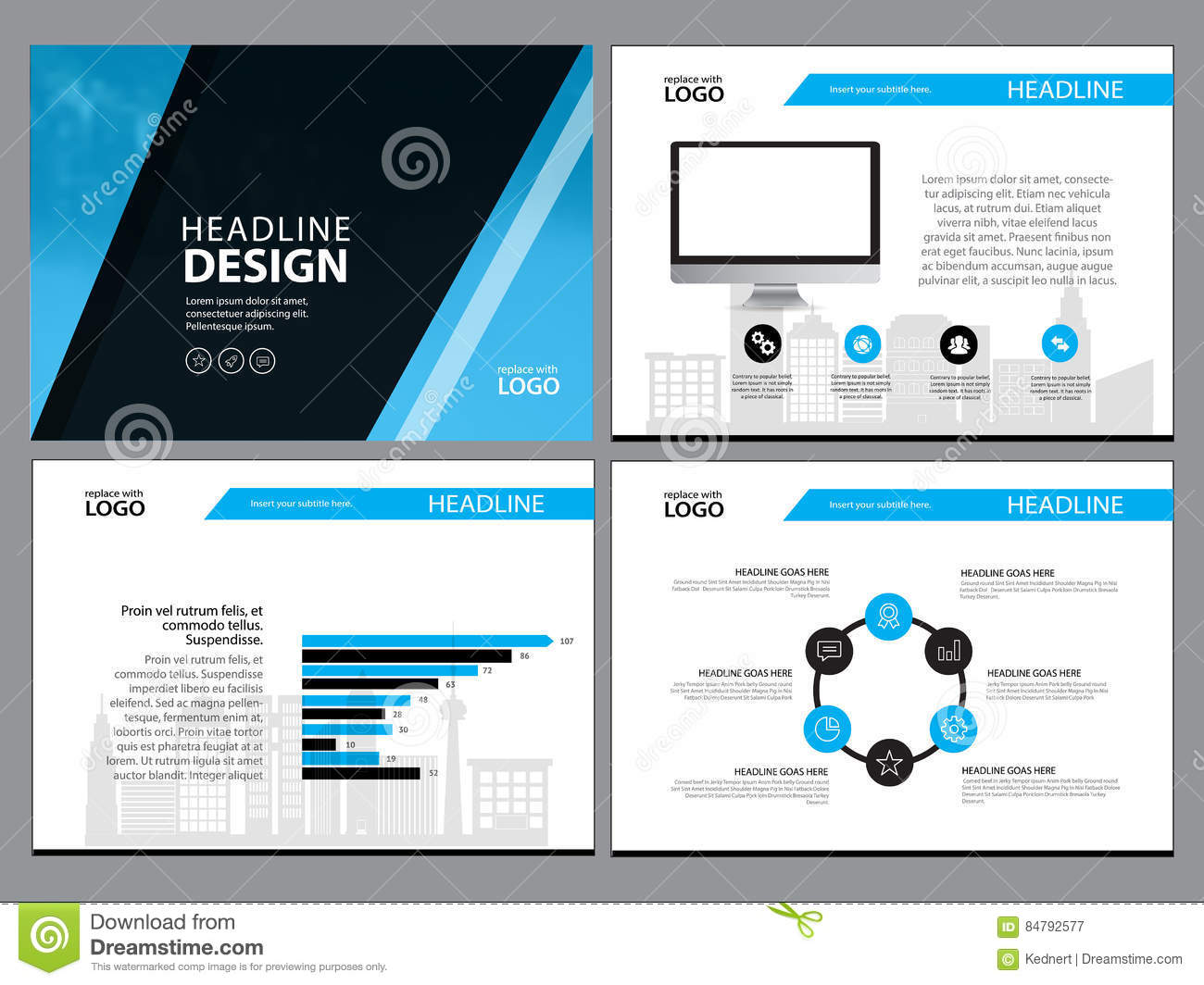 Page Layout Design Template For Presentation And Brochure , Annual ...