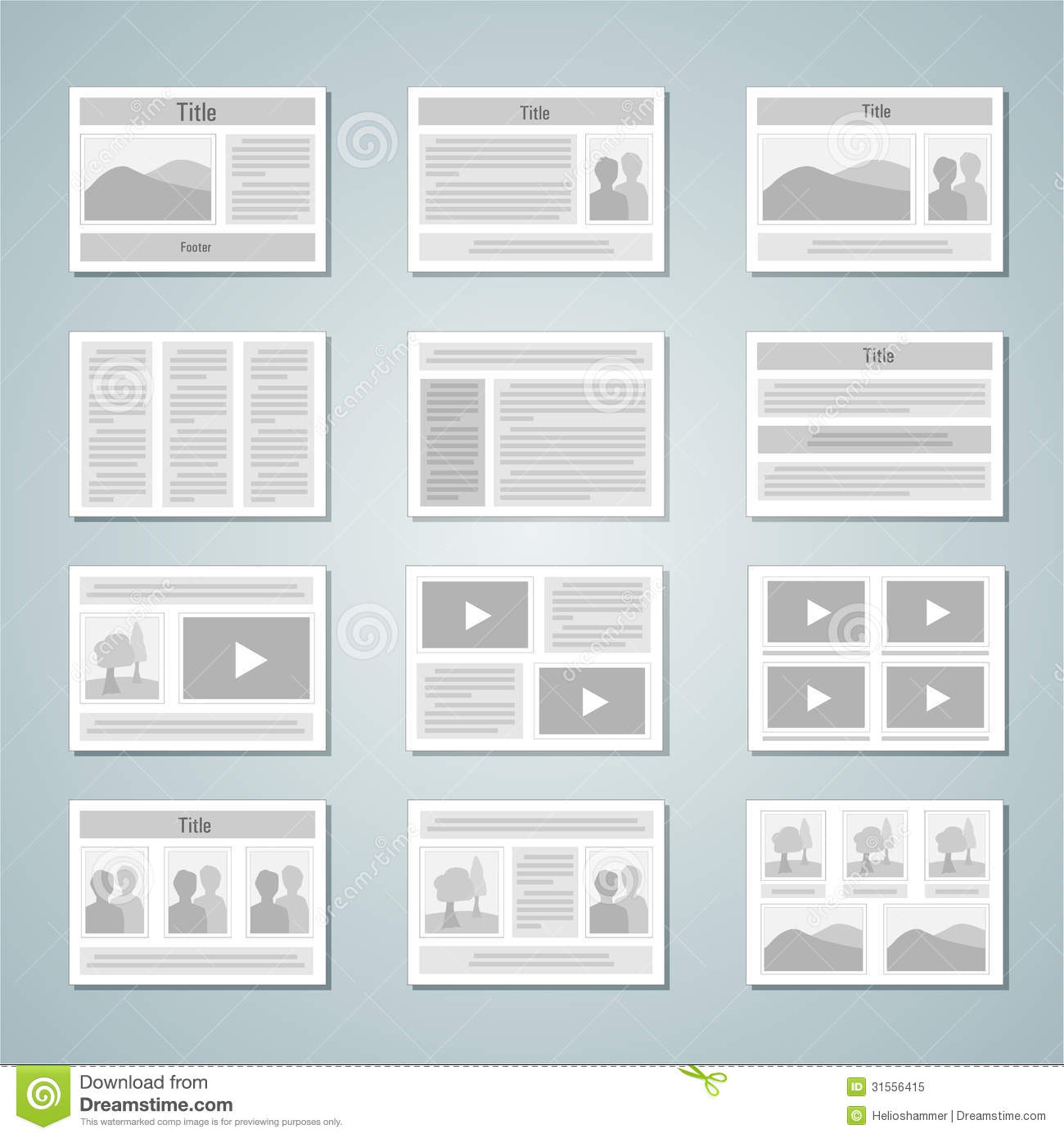 Page Layout Template Set Royalty Free Stock Photo Image
