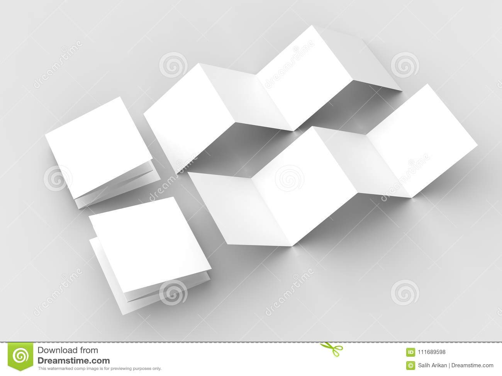 8 page leaflet, 4 panel accordion fold square brochure mock up i