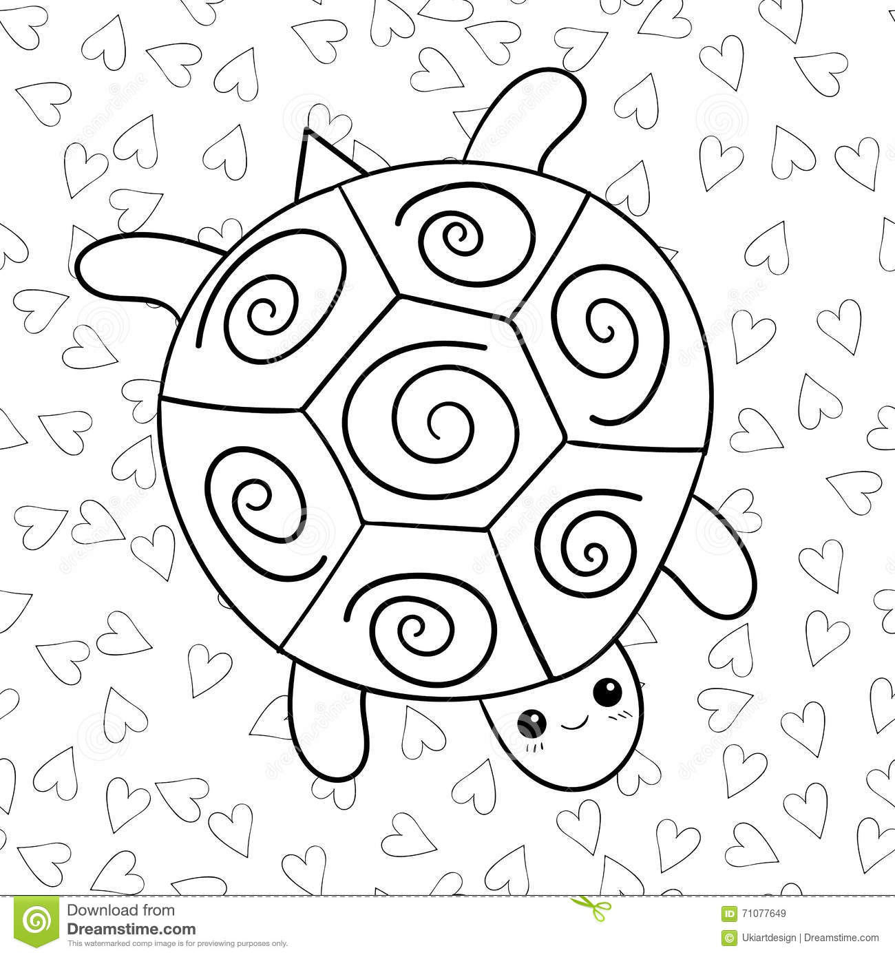 page mignonne de livre de coloriage de tortue illustration stock image 71077649. Black Bedroom Furniture Sets. Home Design Ideas