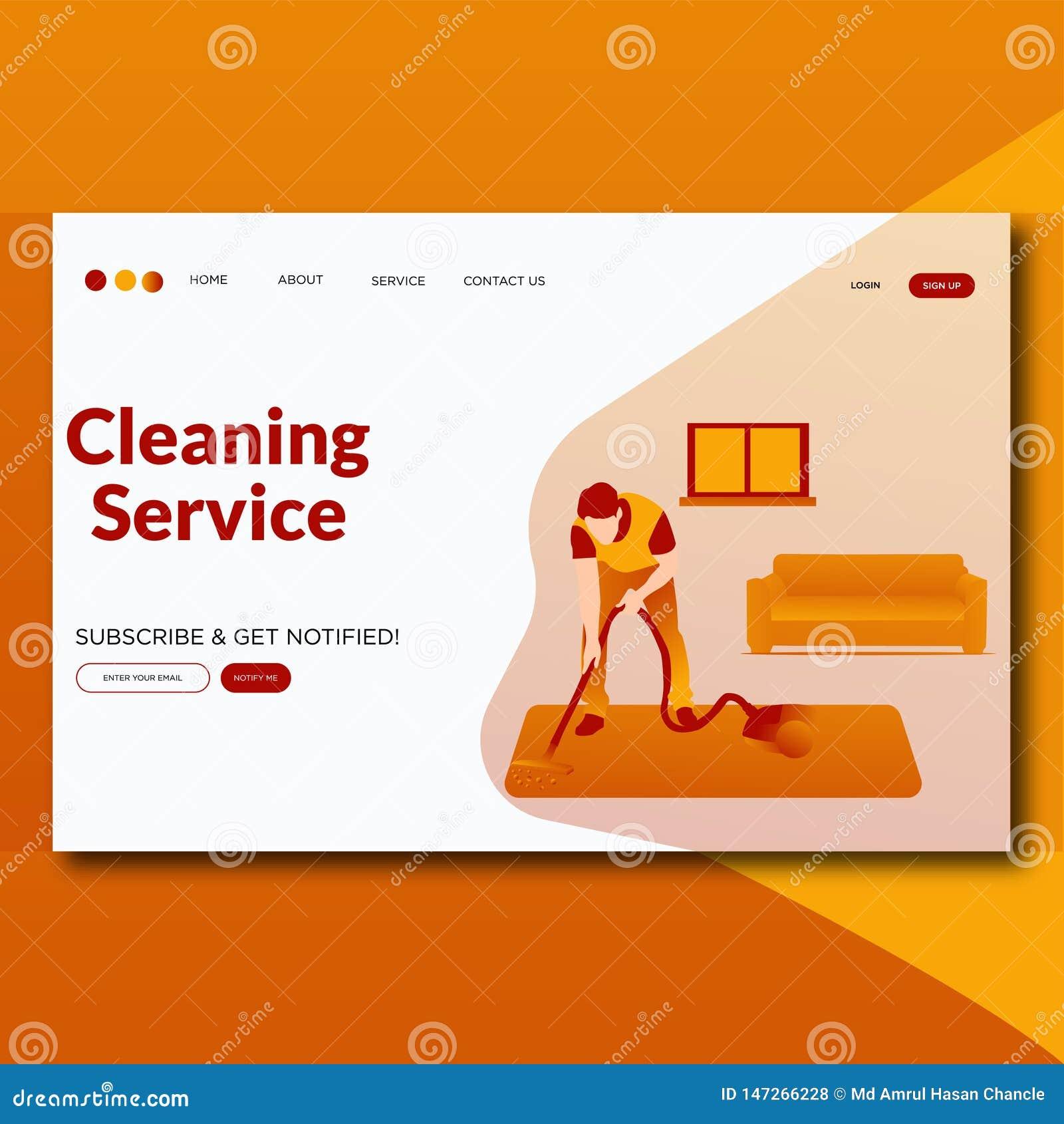 Page moderne de nettoyage d atterrissage d illustration de style d appartement service compris