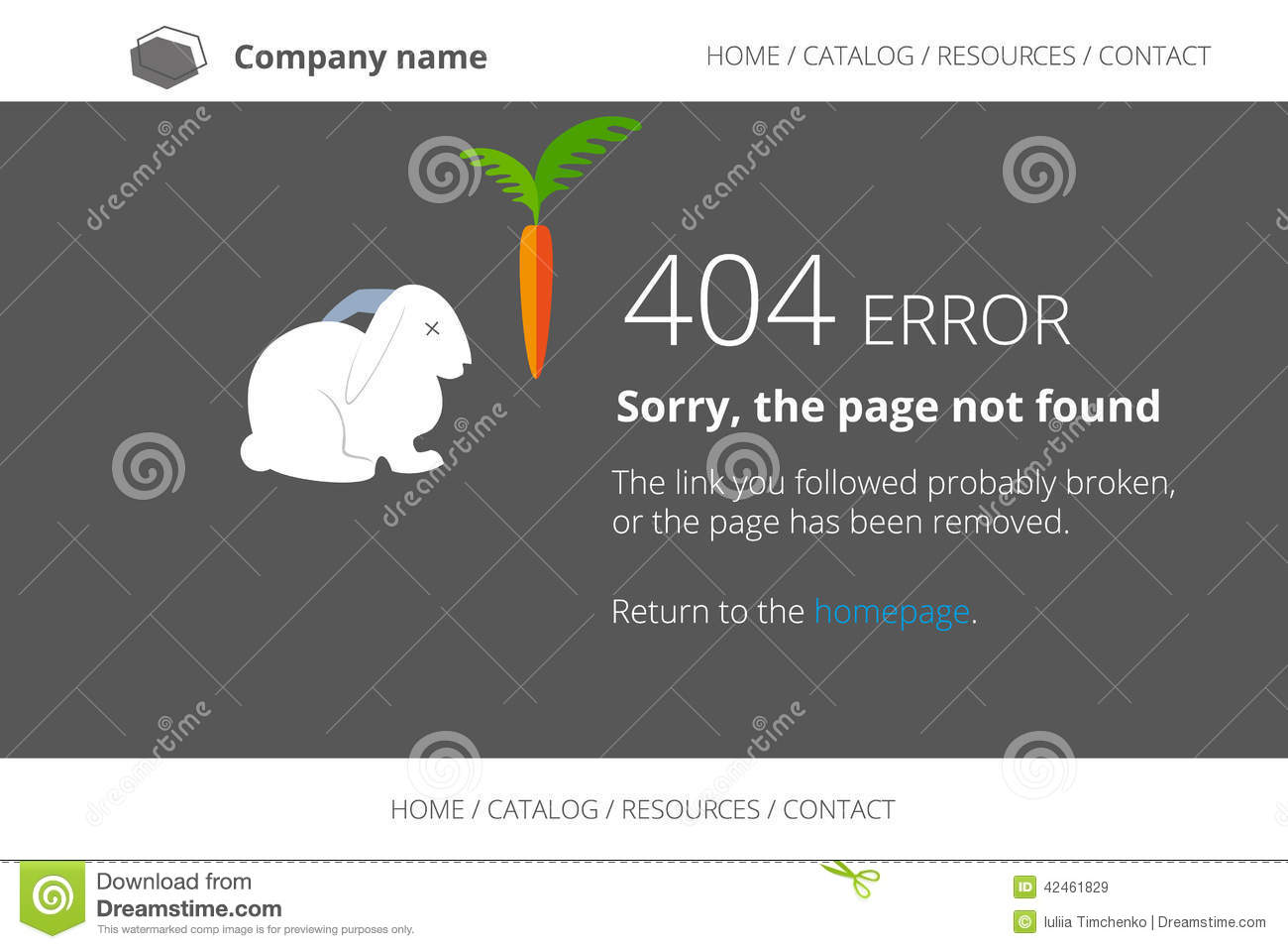 page not found error 404 with dead rabbit stock vector