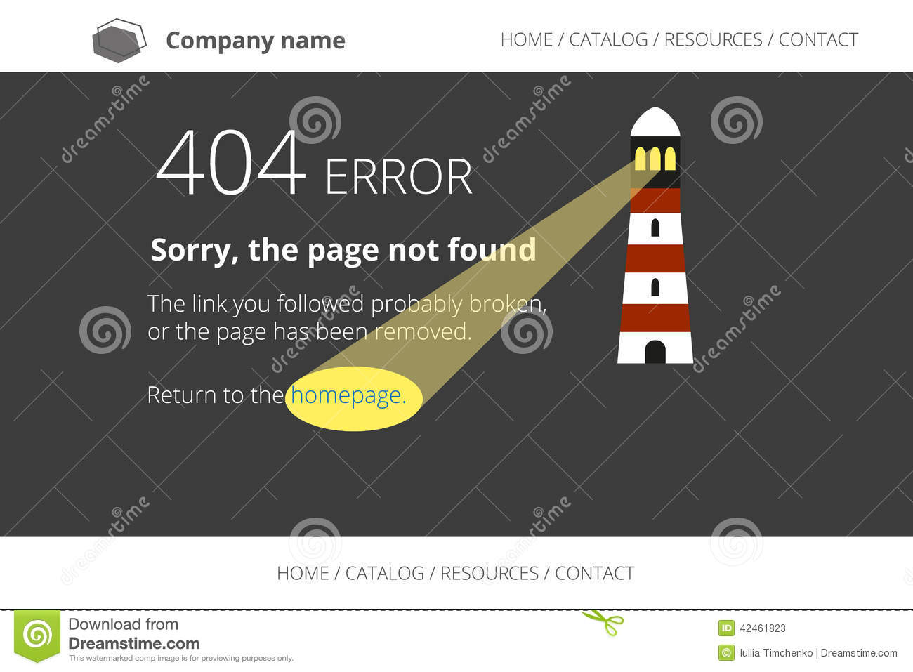 page not found error 404 with lighthouse on dark stock