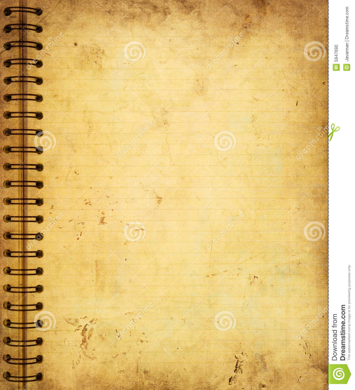 page from old grunge notebook stock photo