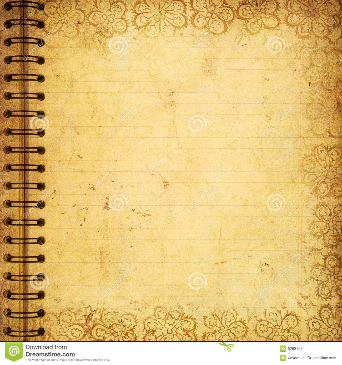 Page From Old Grunge Notebook Royalty Free Stock Photo