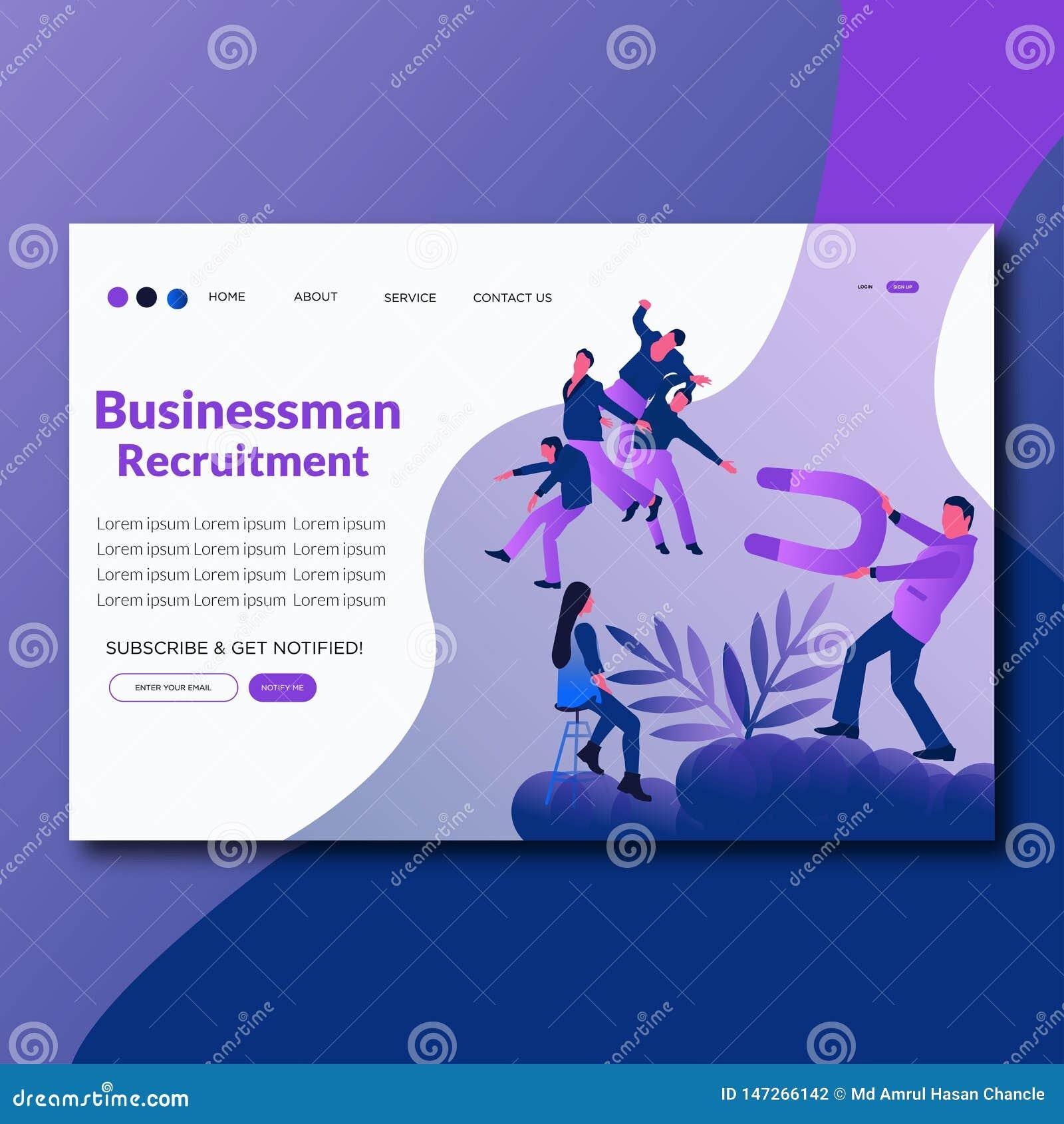 Page plate d atterrissage de recrutement d homme d affaires d illustration de vecteur de recrutement d homme d affaires