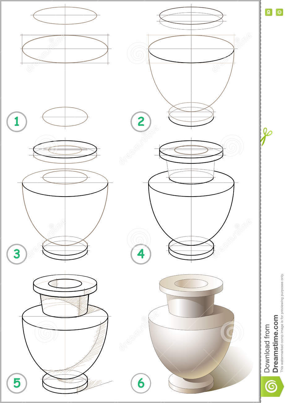 Page Shows How To Learn Step By Step To Draw Antique Vase  Stock